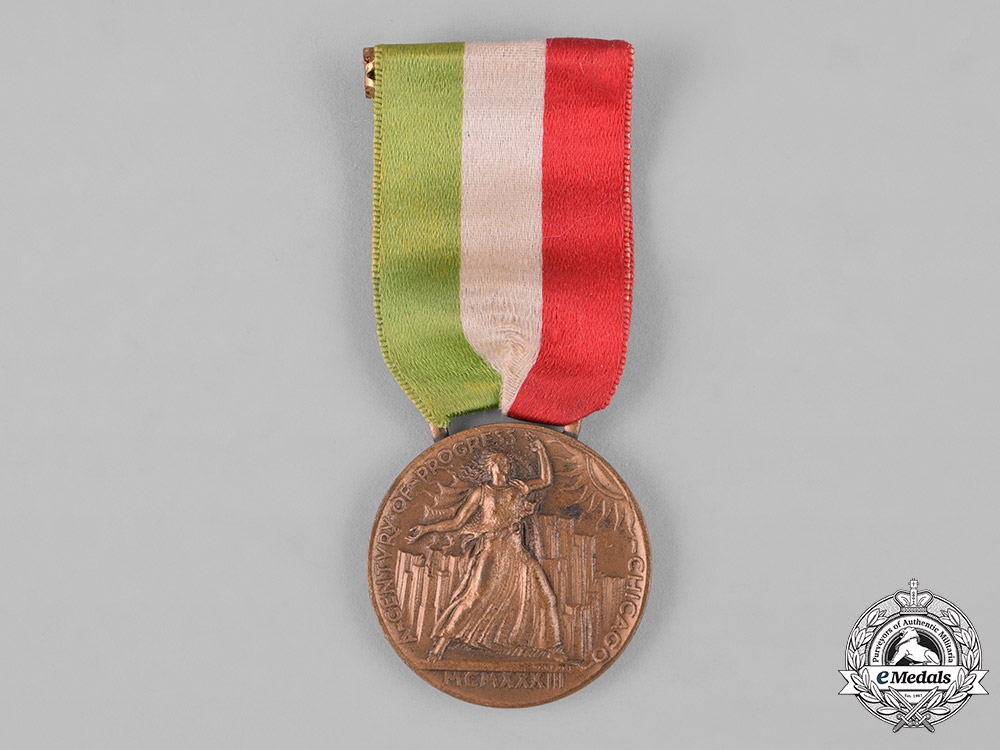 Italy, Kingdom. A Century of Progress Chicago World's Fair Italian Exhibition Medal 1933