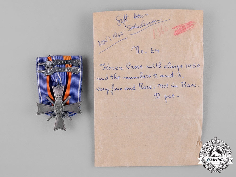 Netherlands, Kingdom. A Cross for Freedom and Justice with Two Korea Clasps, c.1955