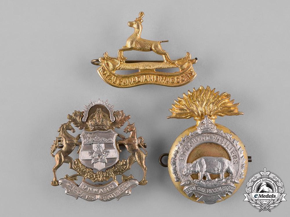Canada. A Lot of Three Regimental Cap Badges, c.1942