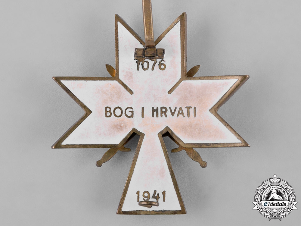 Croatia, Independent State. An Order of the Crown of King Zvonimir, II Class Cross with Swords, c.1942