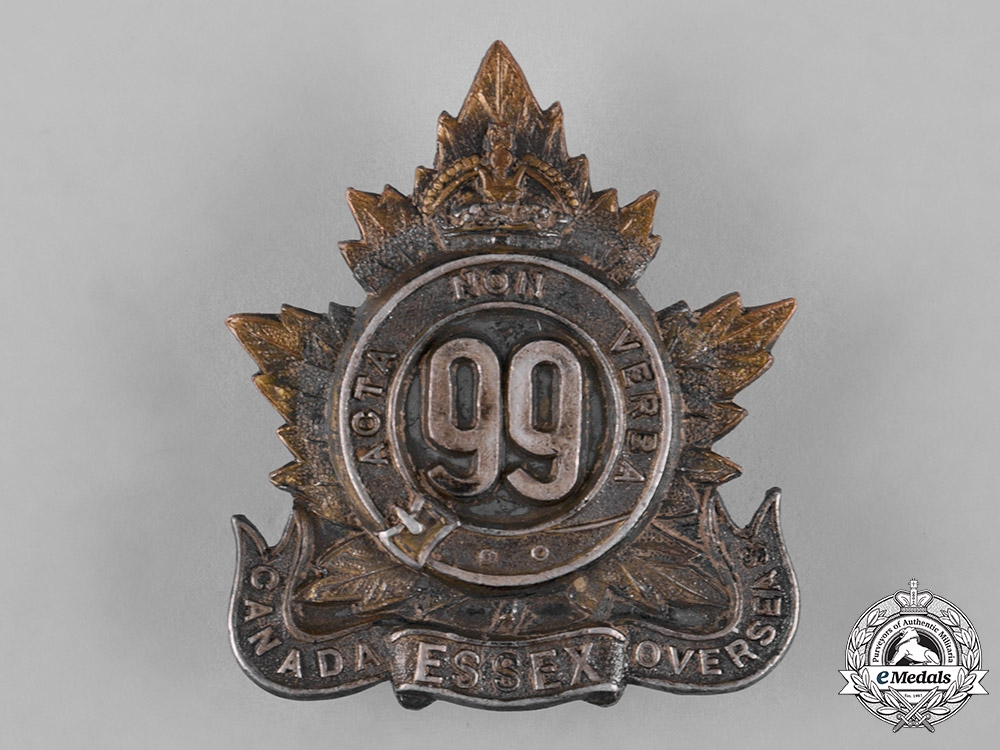 A 99th Infantry Battalion Essex Officers Cap Badge