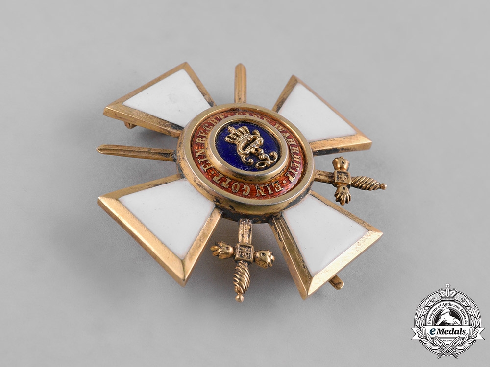 Oldenburg, Grand Duchy. A House & Merit Order of Peter Friedrich Ludwig, Officer's Cross with Swords, by B. Knauer, c.1914