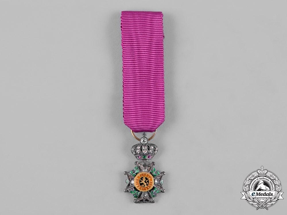 Belgium, Kingdom. A Minature Order of Leopold with Diamonds, c.1900
