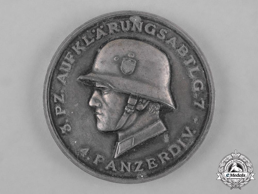 Germany, Heer. A 1941 Armoured Reconnaissance Battalion 7 Medallion by Deschler & Sohn