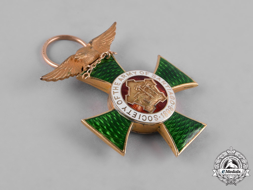United States. A Society of the Army of Santiago Membership Badge in Gold 1898
