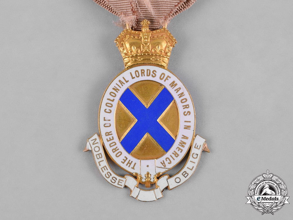 United States. The Order of Colonial Lords of Manors in America Medal in Gold, c.1918