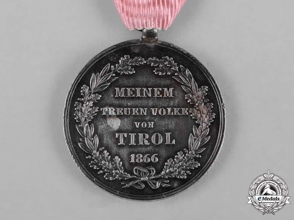 Austria, Imperial. A Medal for the Defence of Tirol 1866, by Josef Tautenhayn