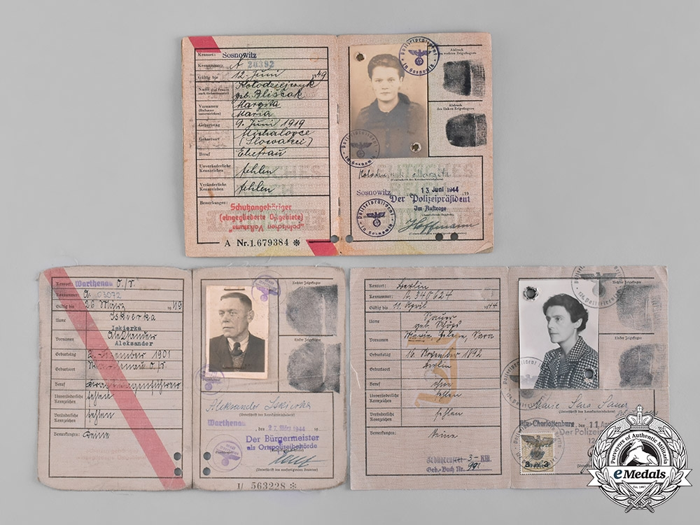 Germany, Third Reich. A Lot of Five Third Reich Period Civil Identification Cards