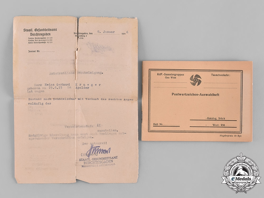 Germany, Third Reich. A Collection of Documents Belonging to Heinz Gerhard Krüger