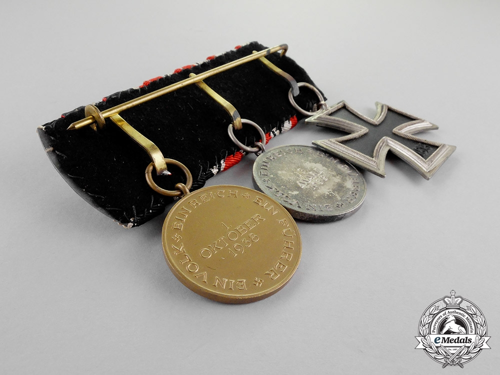 Germany. An EK2 Medal Bar with Three Medals, Awards, and Decorations