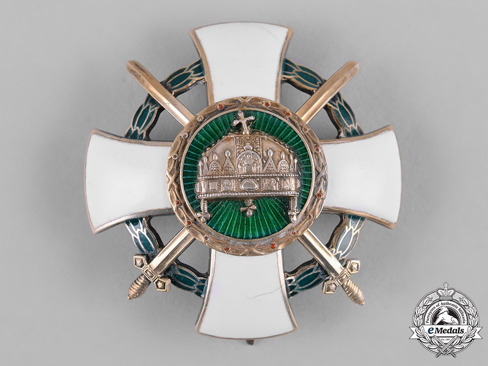 Hungary. An Order of the Holy Crown, Officer Cross with Swords & War Decoration, c.1943