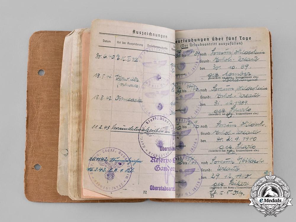 Germany, Heer. A Soldbuch to Oberwachtmeister Beike, 2nd Battery of Panzer Artillery Regiment 19