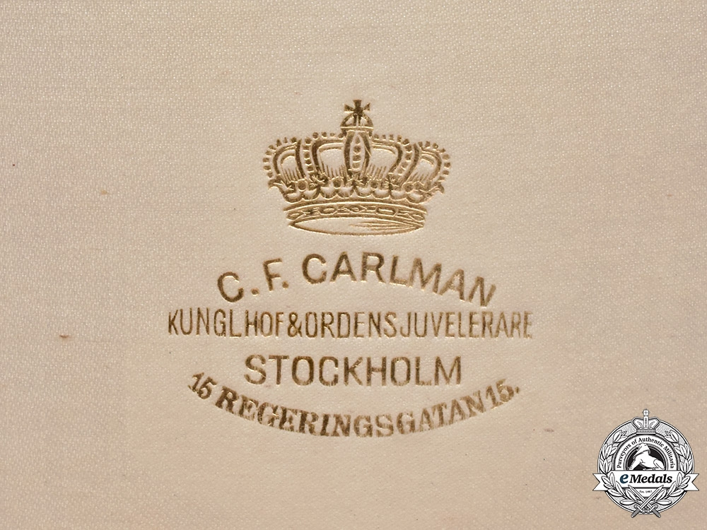 Sweden, Kingdom. An Order of Vasa, Grand Cross Case, by C.F. Carlman