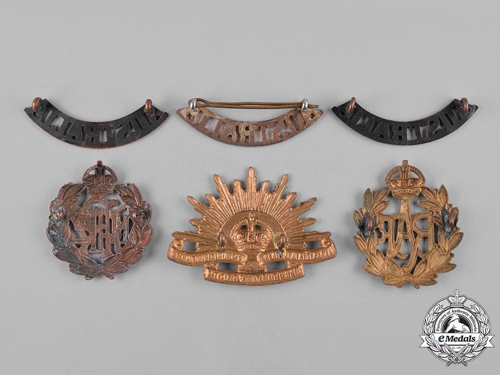 Australia, New Zealand, United Kingdom. A Lot of Six Cap Badges and Shoulder Titles