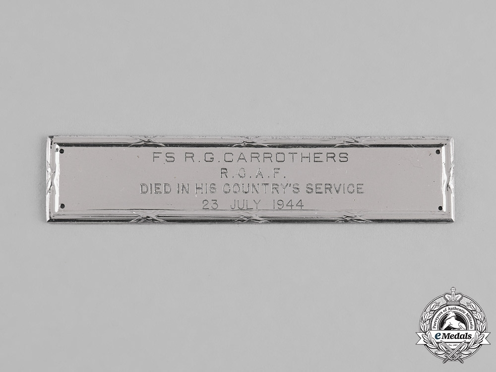 Canada  A Birks Memorial Bar to A/G Carrothers, RCAF, 620
