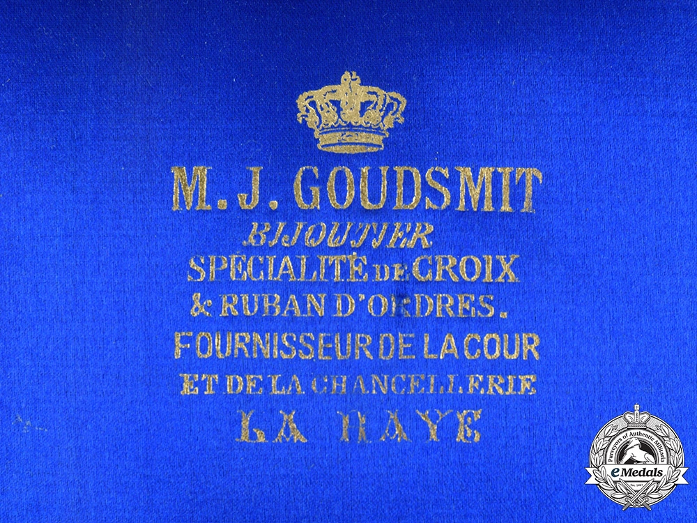 Netherlands, Kingdom. An Order of Orange-Nassau, Grand Officer's Case, by M.J. Goudsmit