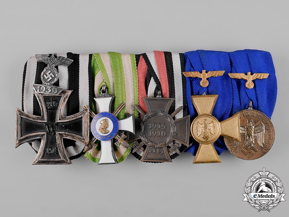 Germany, Wehrmacht. An Albert Order & Heer Long Service Medal Bar with Ribbon Bars