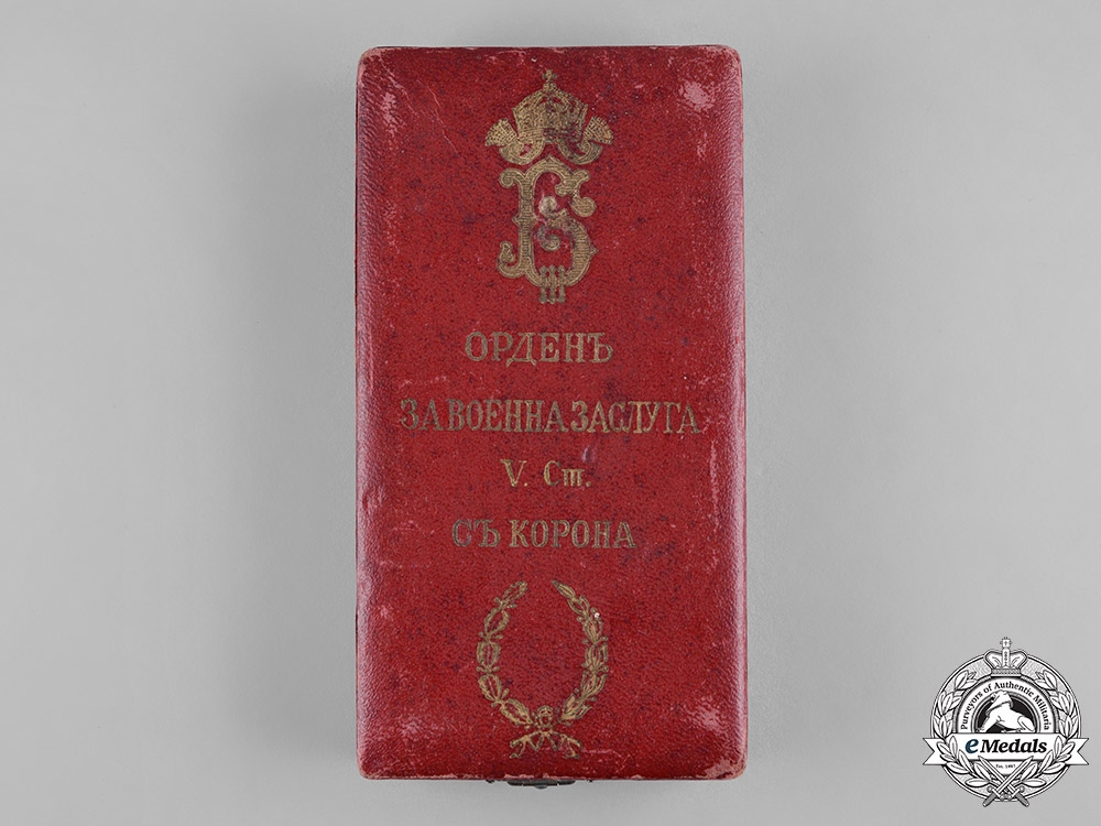 Bulgaria, Kingdom. An Order of Military Merit, V Class Knight with Crown and War Decoration Case