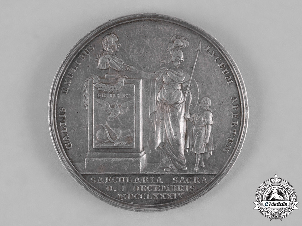 Prussia, Kingdom. A Medal for the Anniversary of French Huguenot Refugee Schools in Prussia by D. Loos, ca. 1789