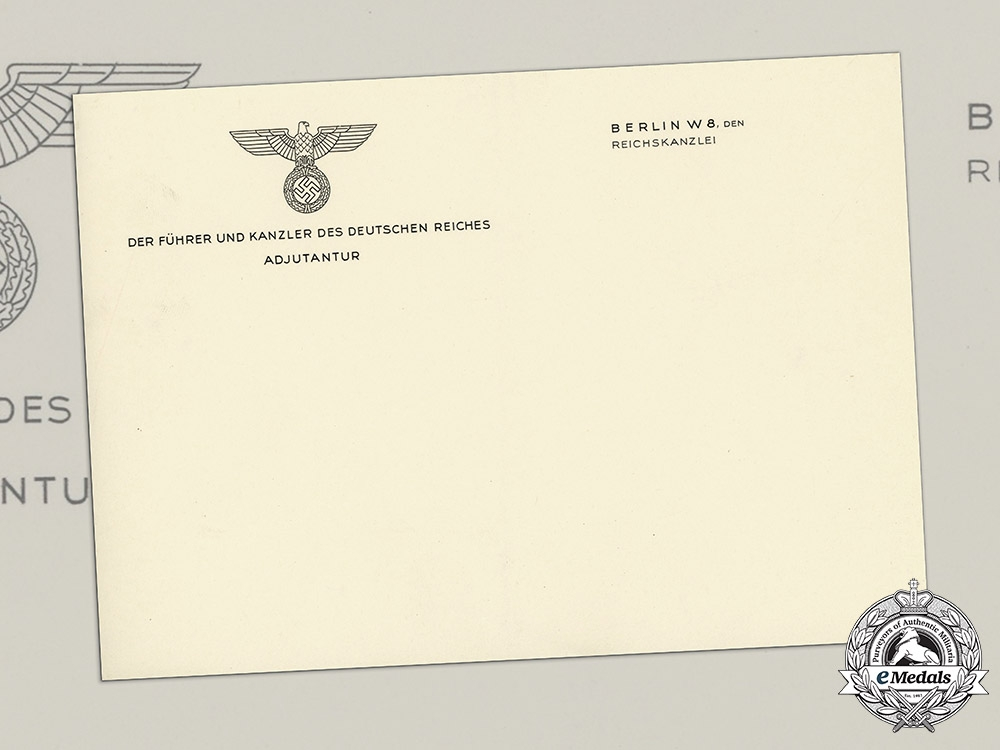 Germany, Wehrmacht. Unused Stationary from the Adjutant of the German Chancellery