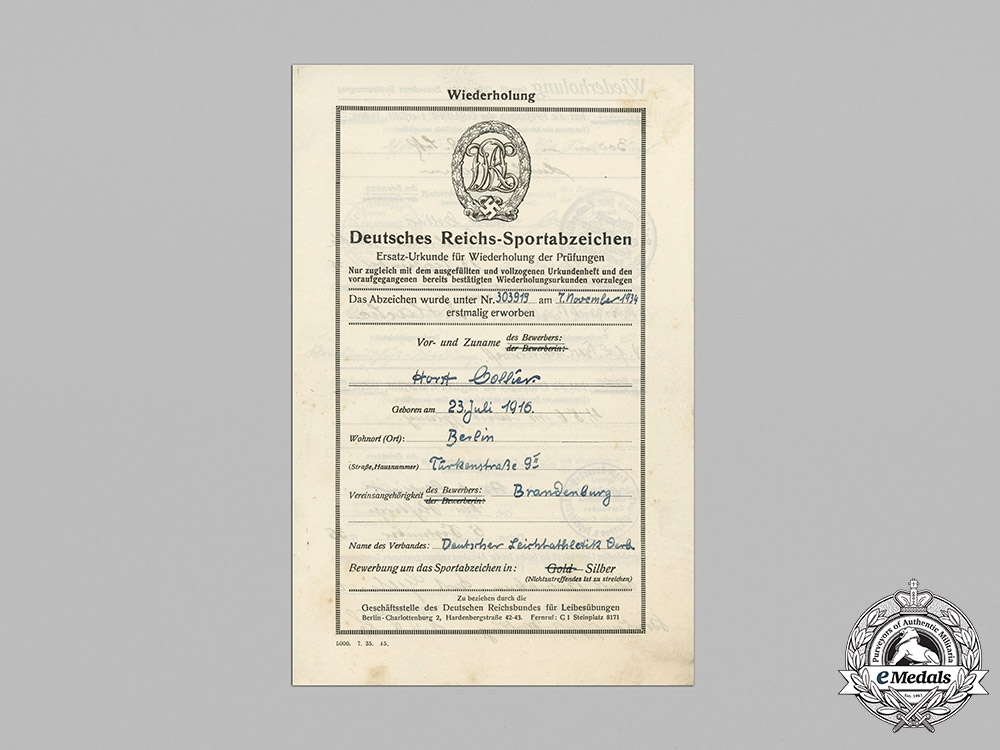 Germany, Wehrmacht. An Award Document for a Silver Grade Sports Badge, 1935