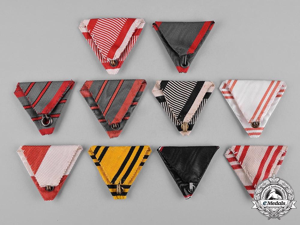 Austria, Empire. Lot of Ten Medal Ribbons