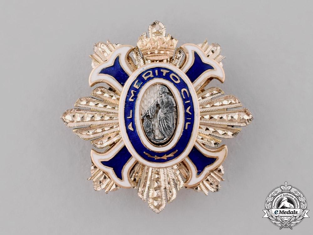 Spain, Kingdom. An Order of Civil Merit Miniature Boutonniere