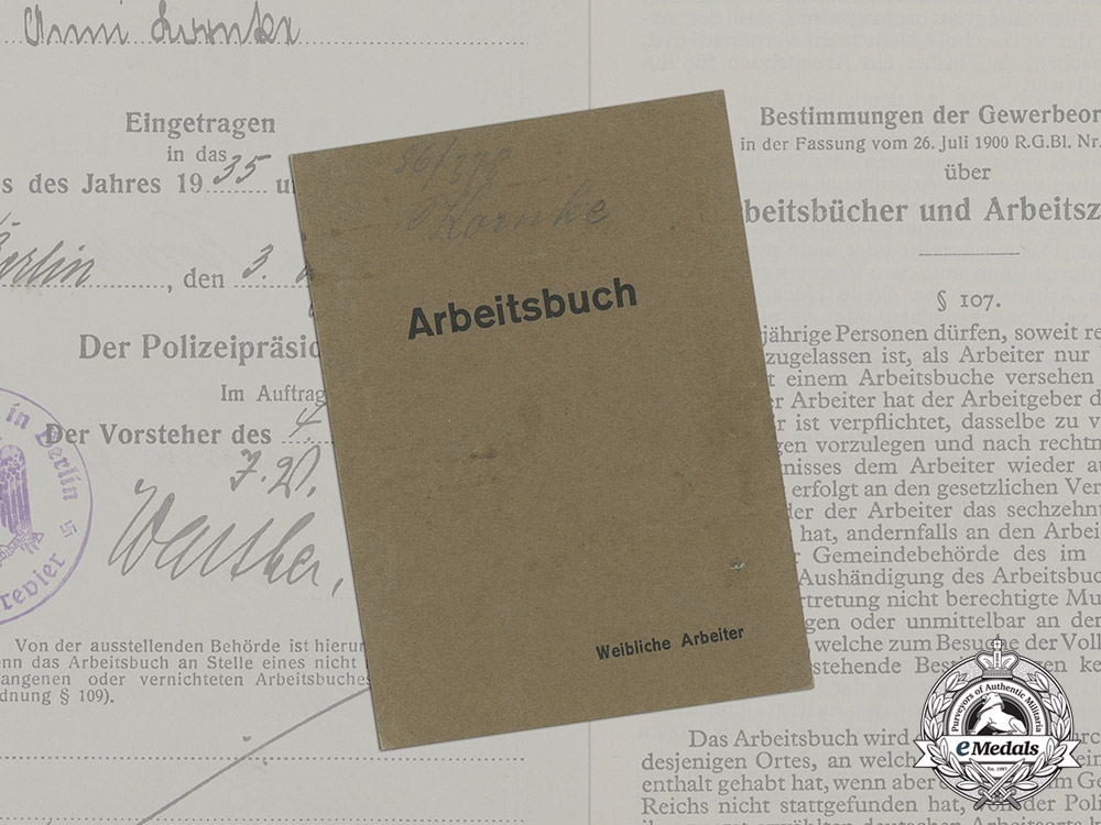 Germany. An Early Labour Book to Anni Kornke, c.1935