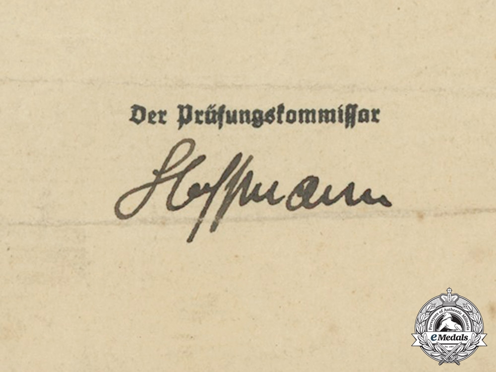 A Luftwaffe Appointment Certificate to Examiner of Equipment for Karl Fritz Bettge