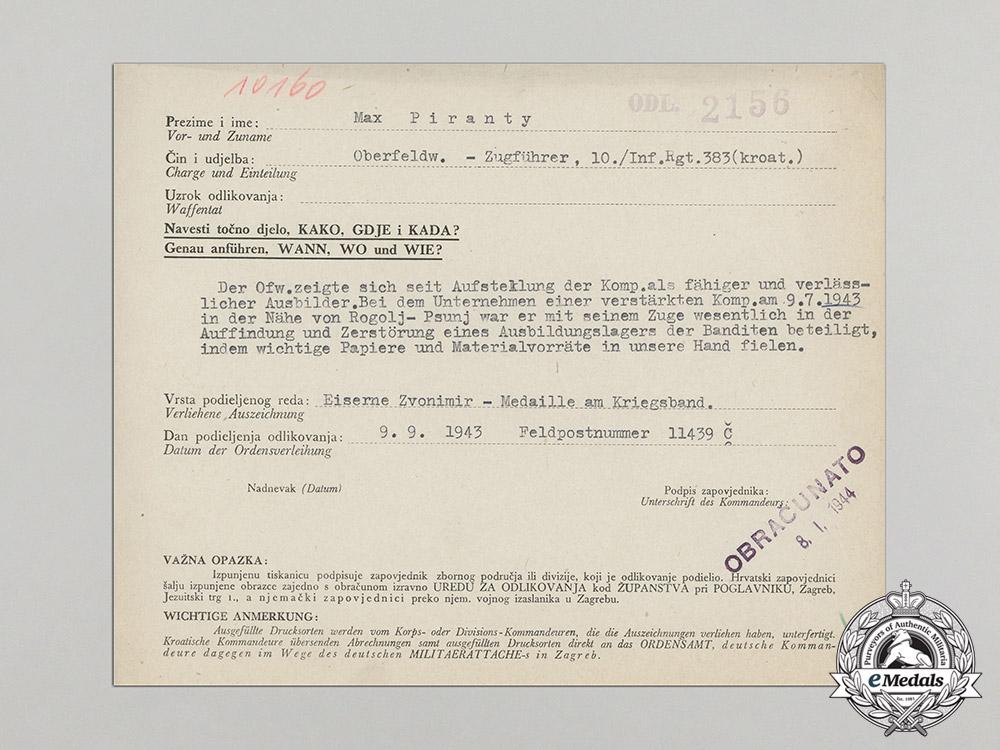 Croatia. An Iron Zvonimir Medal Award Document to Oberfeldwebel Max Piranty