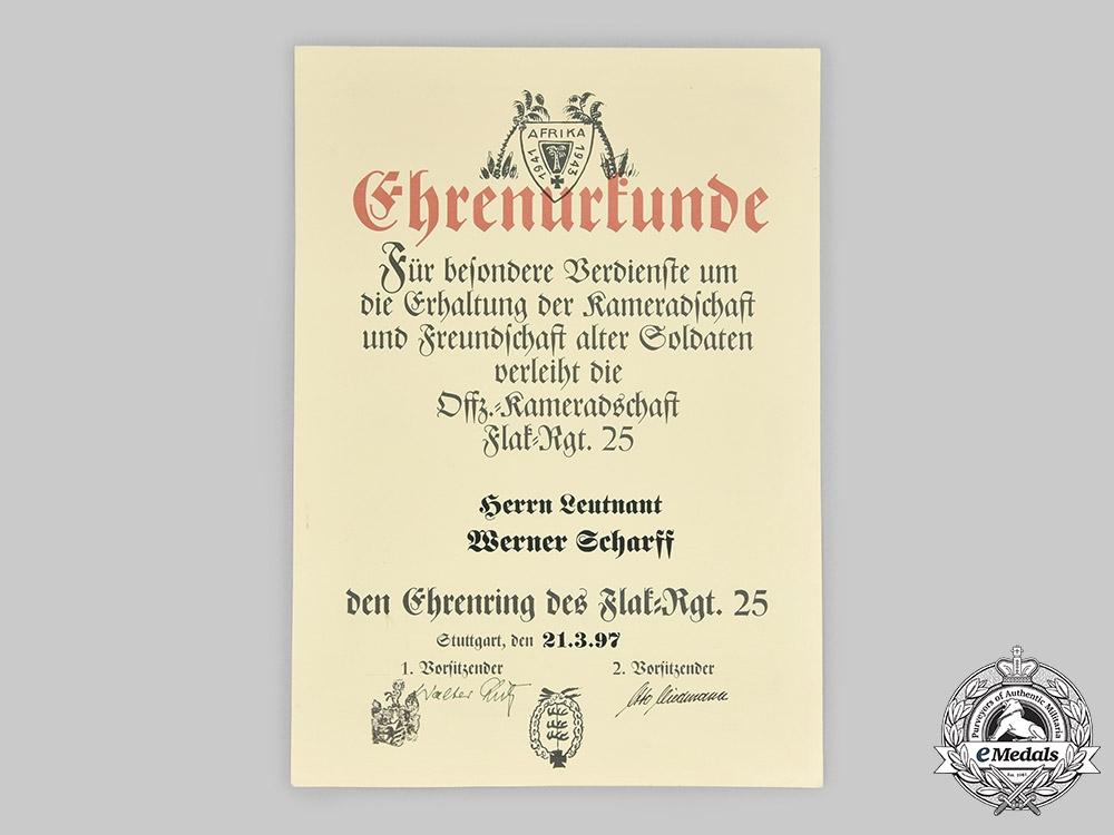 Germany, Federal Republic. Three Veteran Association's Award Certificates to DAK Leutnant Scharff
