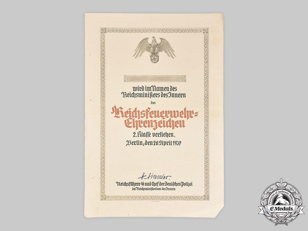 Germany, Third Reich. A Fire Brigade Honour Badge II Class Award Certificate, 1937