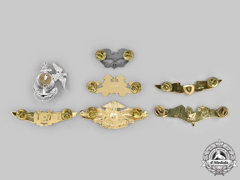 United States. A Lot of Seven Coast Guard, Navy and Marine Corps Badges