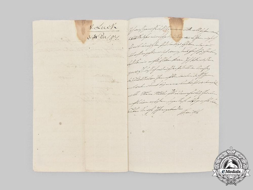 Prussia, Kingdom. Three Documents to Second Lieutenant Fedor von Luck, 1807/1821