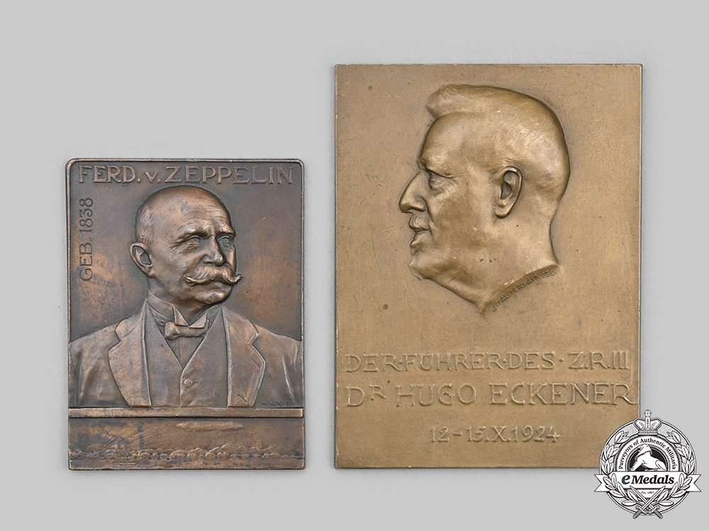 Germany, Weimar Republic. Two Zeppelin Themed Commemorative Plaques