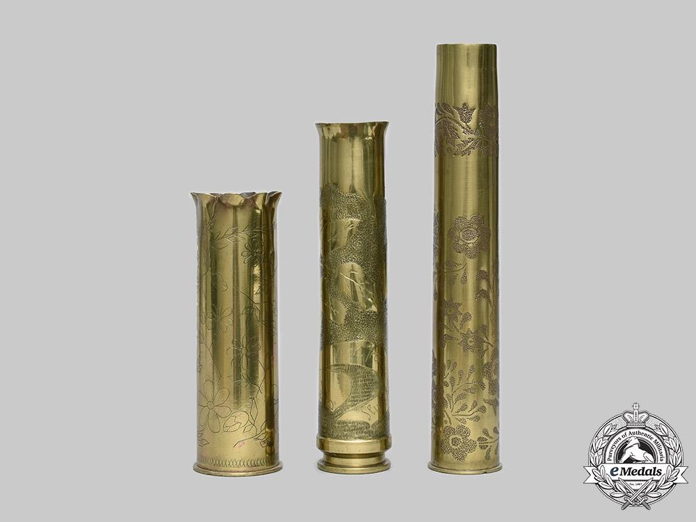 Slovakia, I Republic. Three Trench Art Brass Shell Cases