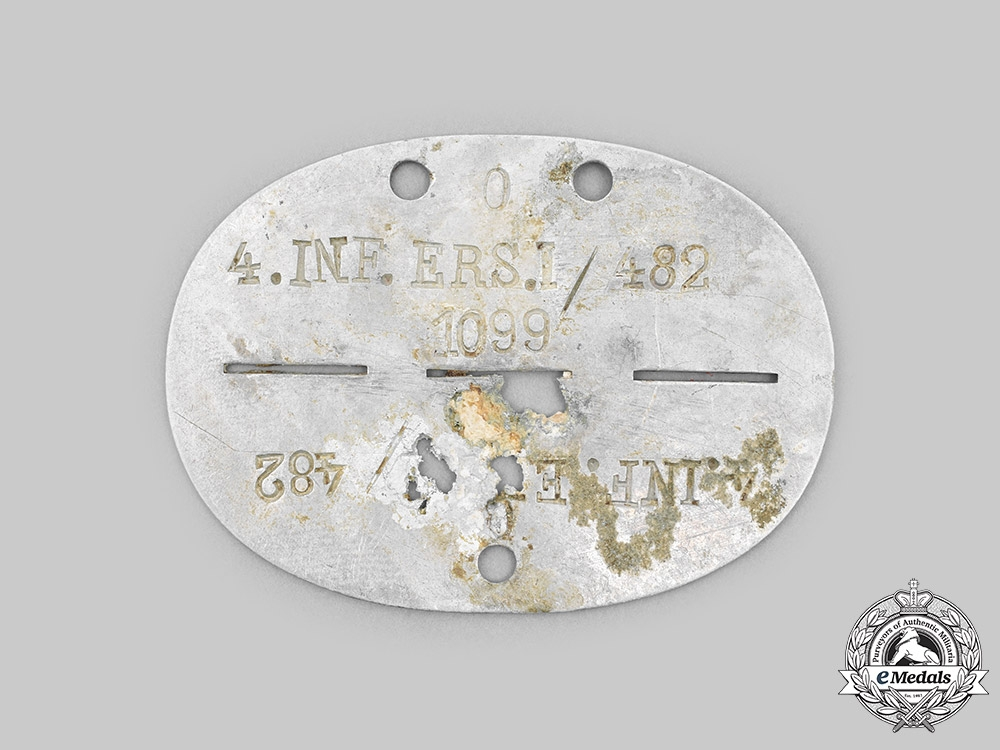 Germany, Heer. An Infanterie-Ersatz-Bataillon 1 Identification Tag