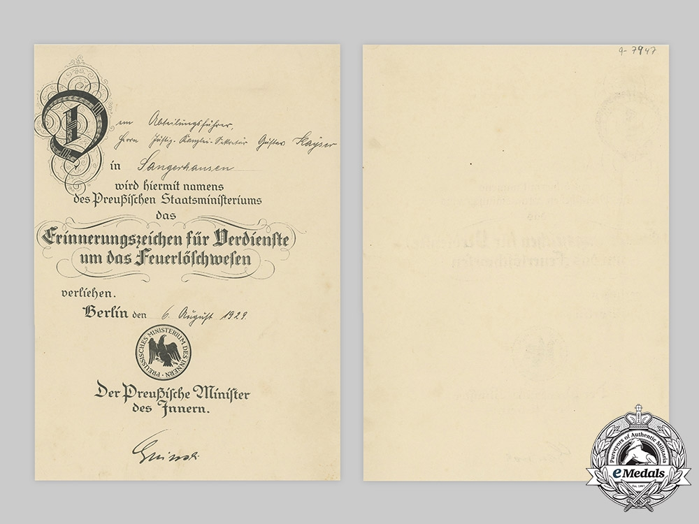 Germany, Weimar Republic. A Commemorative Badge for Firemanship Certificate to Gustav Kayser, 1923