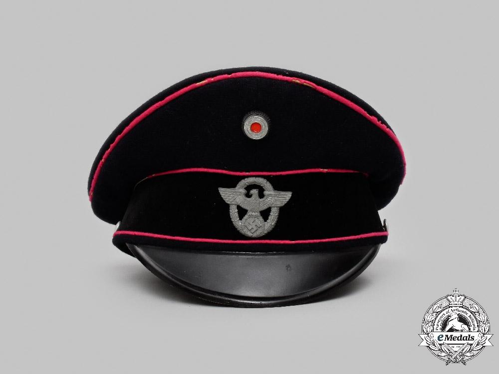 Germany, Feuerschutzpolizei. An Enlisted/NCO's Visor Cap, by Litto-Mütze