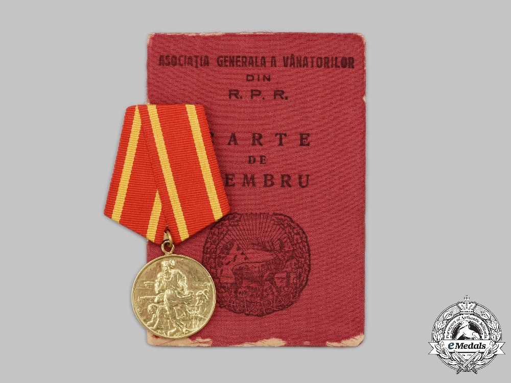 Romania, Republic. A Gold Medal for 50 Years of the Peasants' Revolt Issued to Gheorghe Gheorghiu-Dej