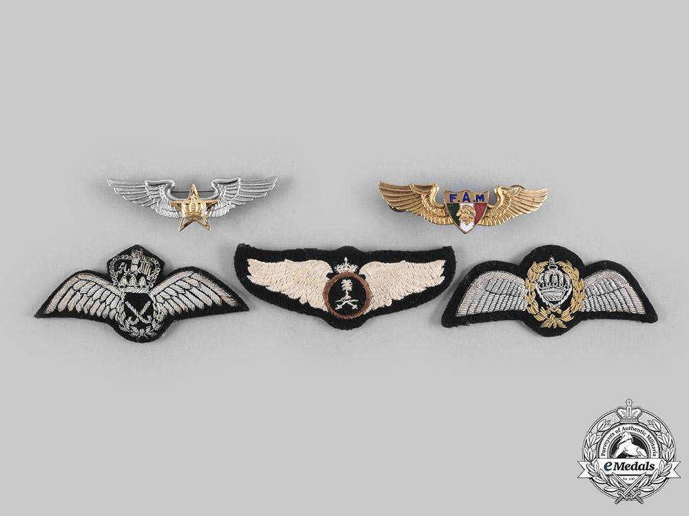 Jordan, Malaysia, Mexico, Morocco, Saudi Arabia. Lot of Five Air Force Pilot Badges