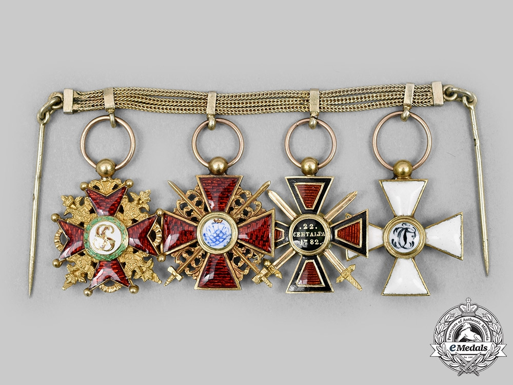 Russia, Imperial. A Superb Miniature Group of Orders, Mounted on the Gold Chain