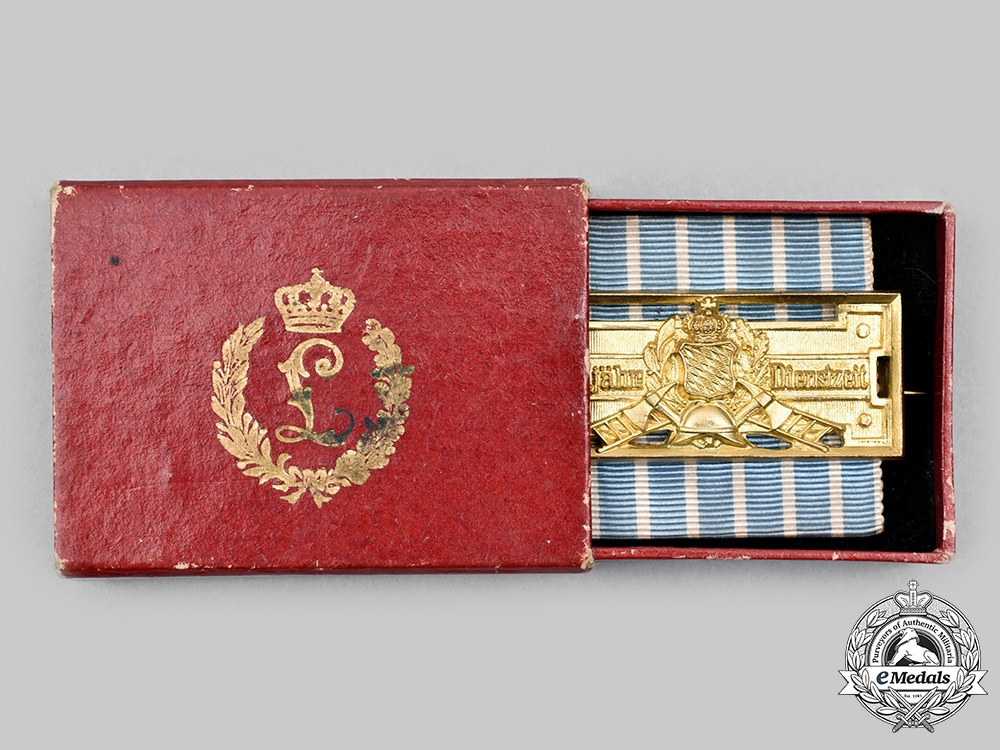 Bavaria, Kingdom. A Fire Brigade 25-Year Long Service Badge, with Case, by Weiss & Co.