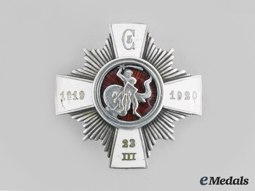 Latvia, Republic. A 5th Cesis Infantry Regiment Badge, by S.Bercs, c.1925
