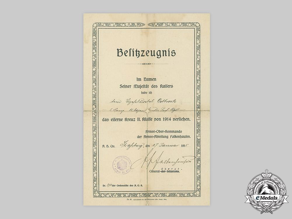Germany, Imperial. A 1914 Iron Cross II Class Award Document to Vizefeldwebel Ortbrock