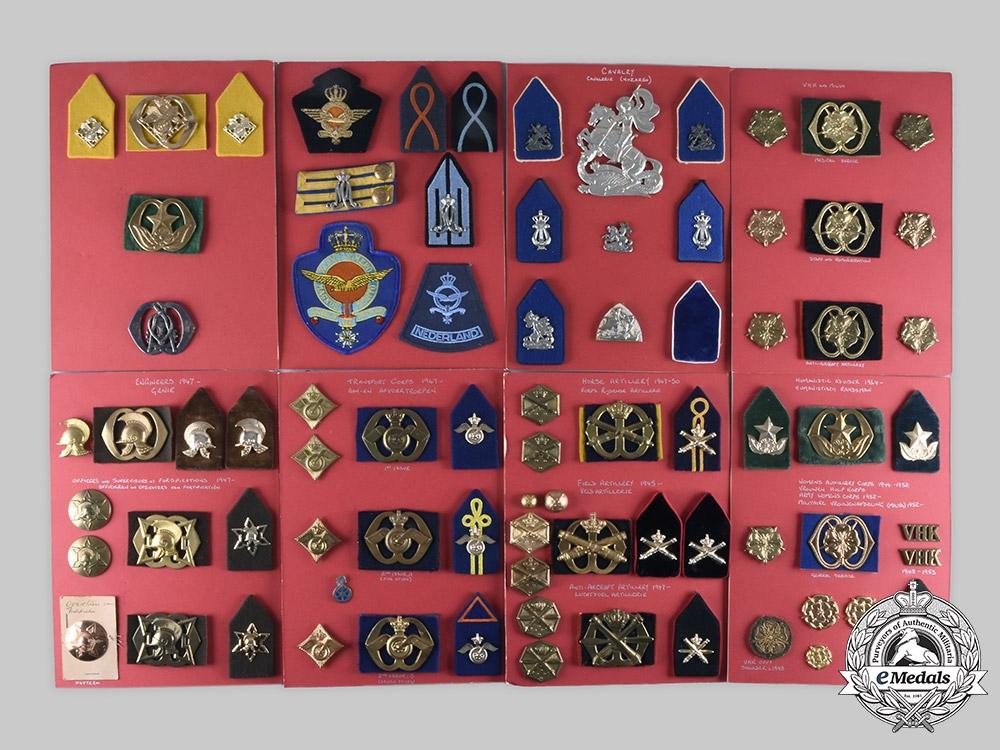 Netherlands, Kingdom. Lot of 164 Army Insignia, c. 1945-1964