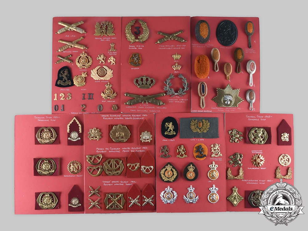 Netherlands, Kingdom. Lot of 156 Army Insignia, c. 1900-1959
