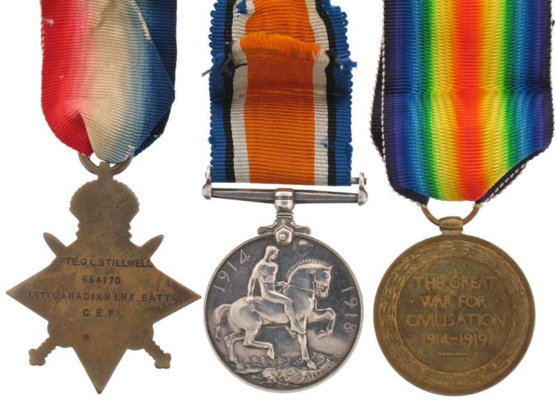 1914-15 Star Trio, 1st Canadian Inf. Battalion