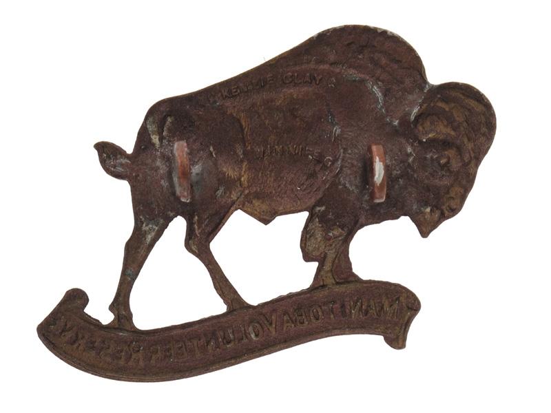 WWII Manitoba Volunteer Reserve Cap Badge. Rare.