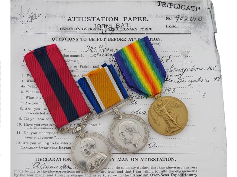 WWI DCM Group, Cpl A. McIssac, 25th Battalion